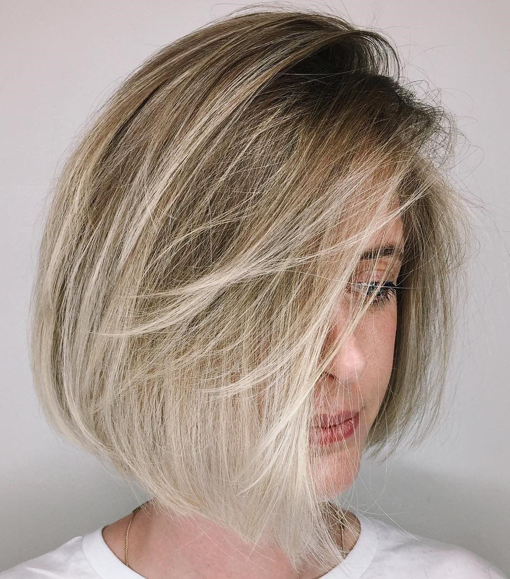 Wispy Bronde Bob with Side Bangs