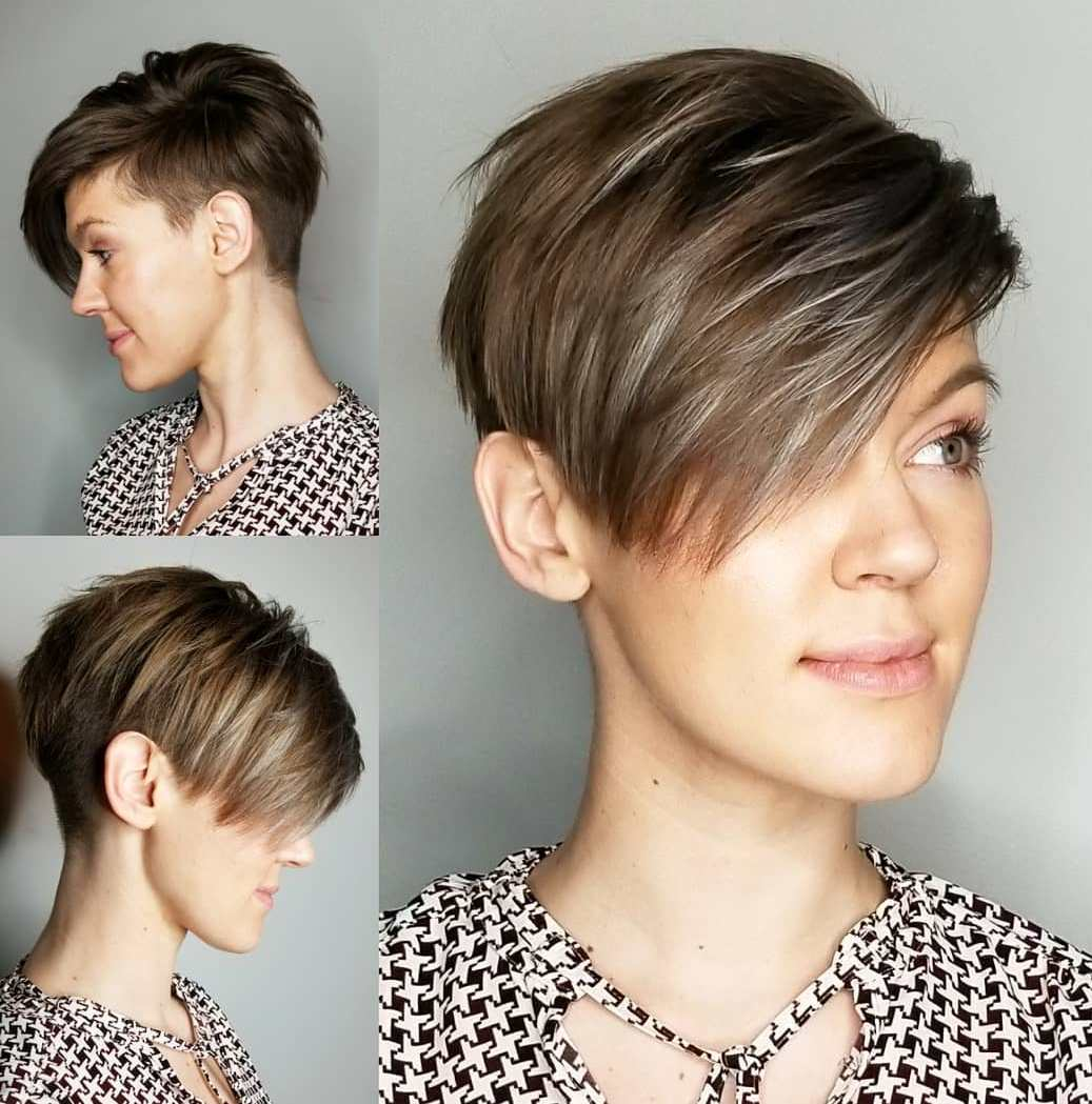 Edgy Pixie Cut with Gray Highlights