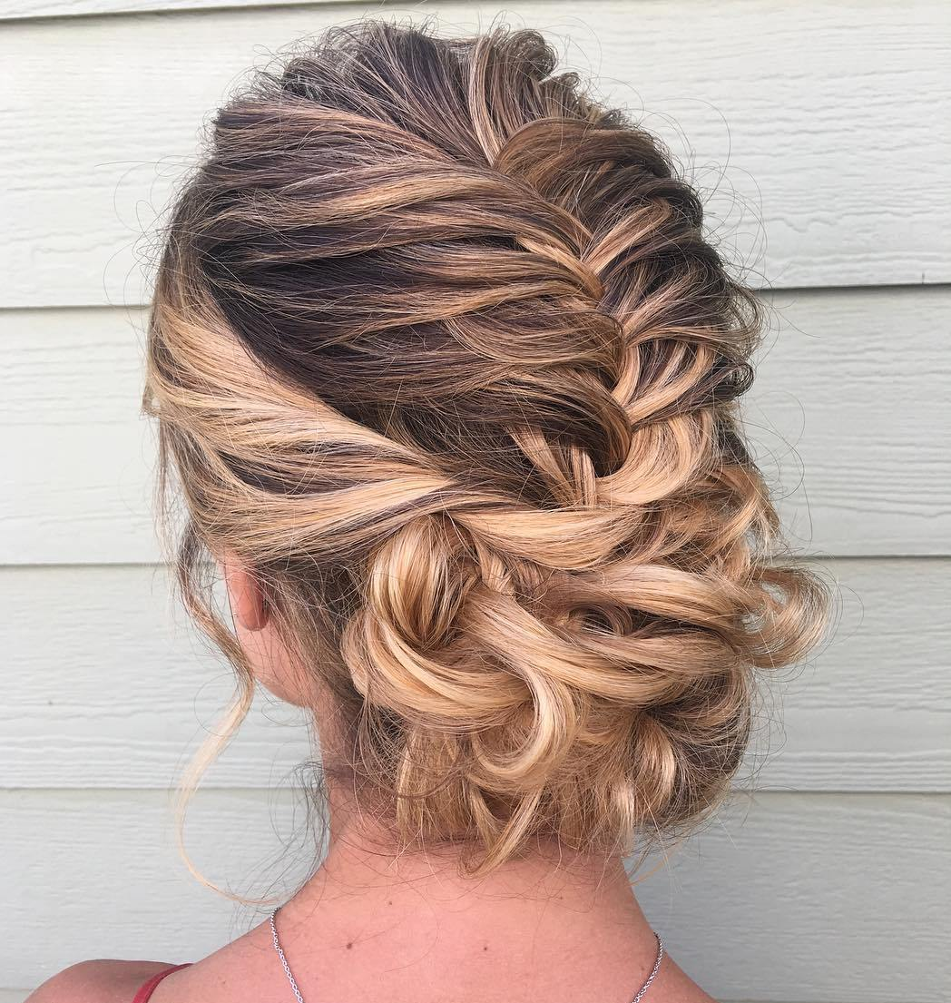 Messy Updo with a French Braid