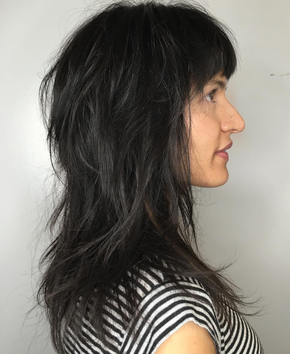 Long Messy Black Shag with Bangs