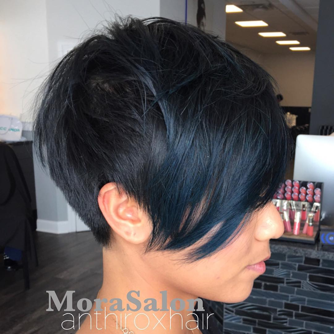Nice Short Black Cut with Blue Highlights