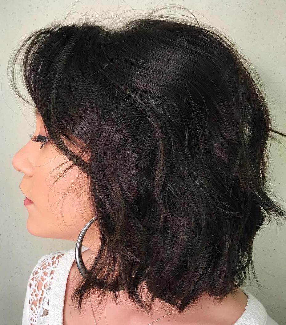 Textured Messy Mid-Length Haircut