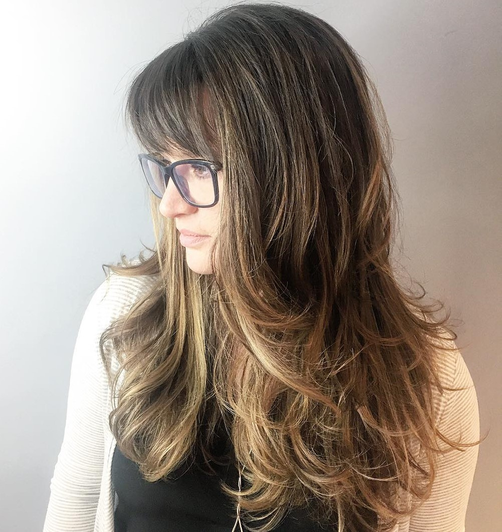 Long Feathered Balayage Hair with Bangs