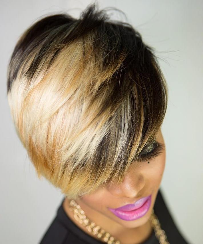 Black Pixie with Layers and Blonde Highlights