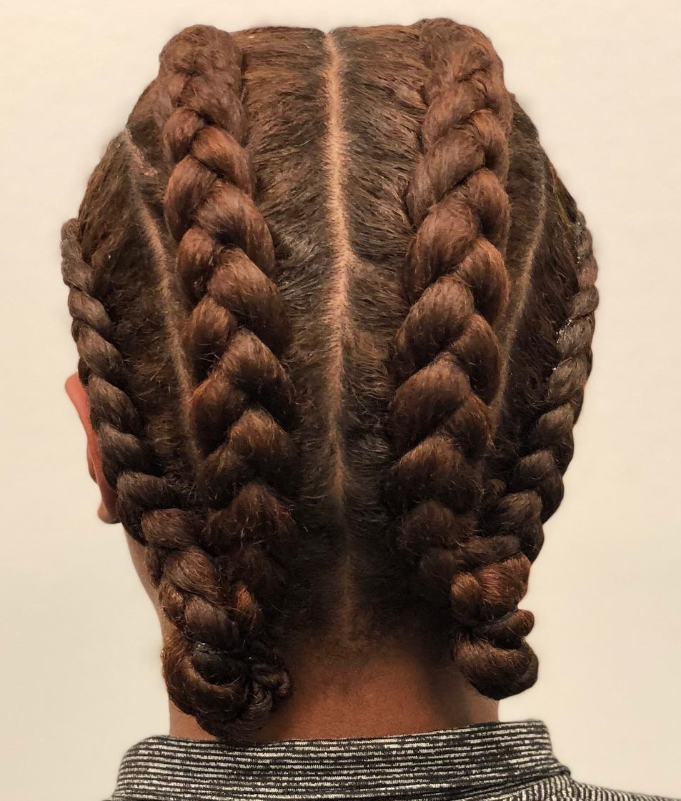 4 Braids Updo for Natural Hair