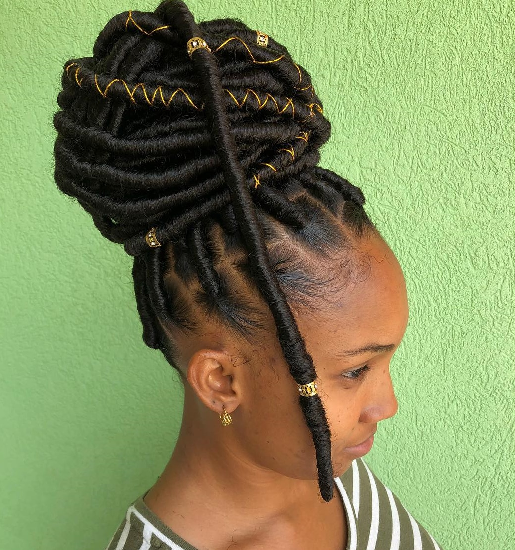 Faux Locs Bun with Gold String