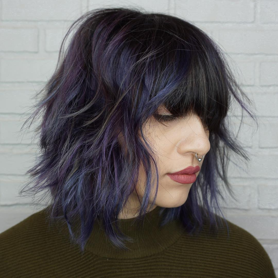 Black and Purple Shag with Bangs