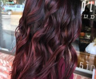 Burgundy Plum Highlights for Brunettes