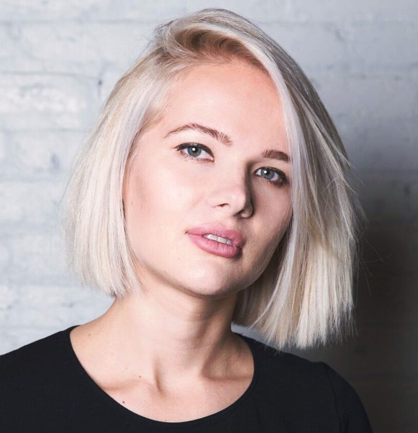 Combover Choppy Blonde Bob for a Round Face