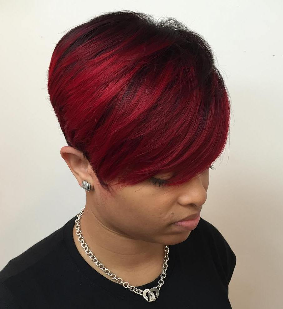 African American Tapered Red Pixie