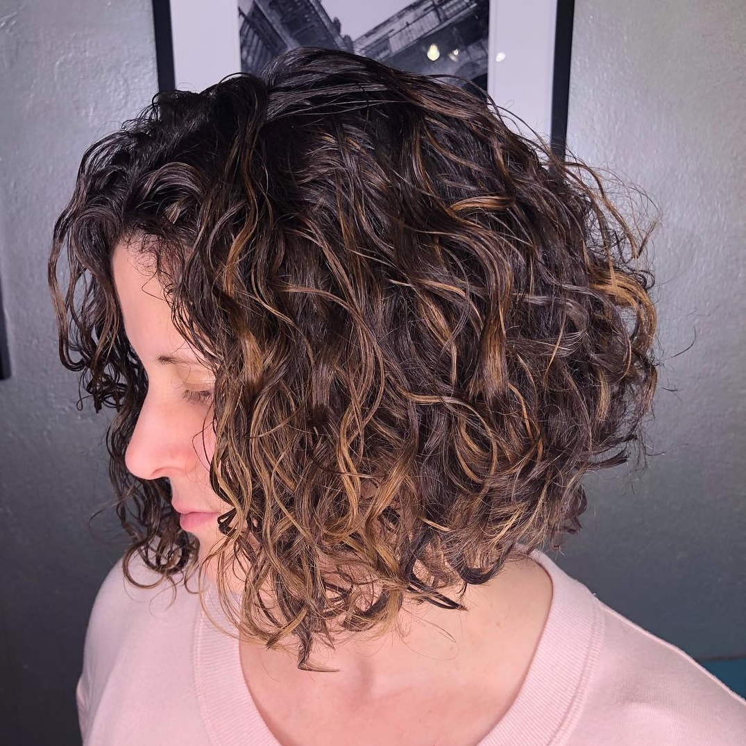 Brown-Auburn Curly Bob
