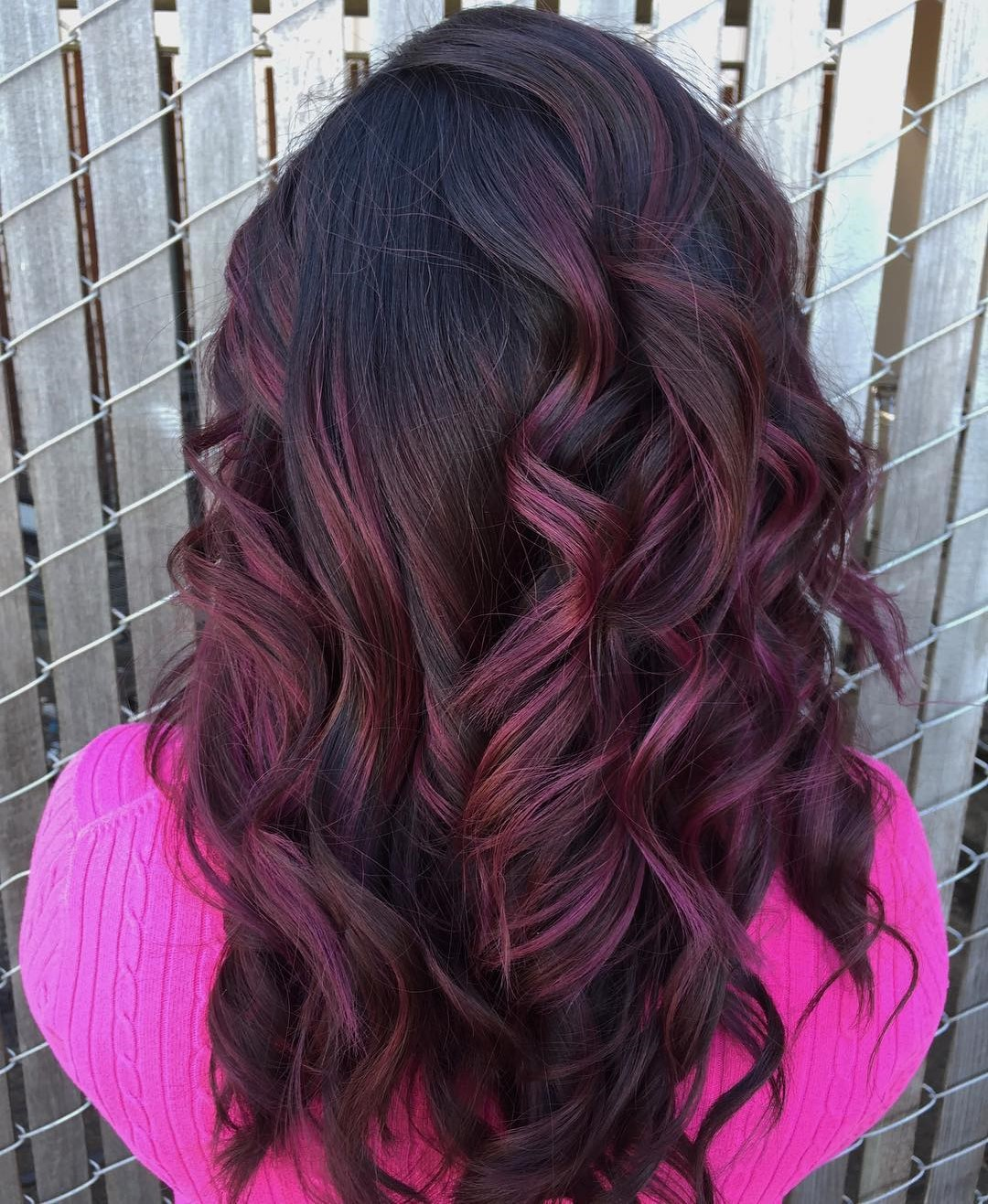 Long Burgundy Purple Hair with Curls