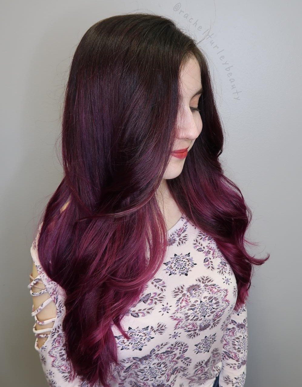 Gorgeous Burgundy Ombre for Long Hair