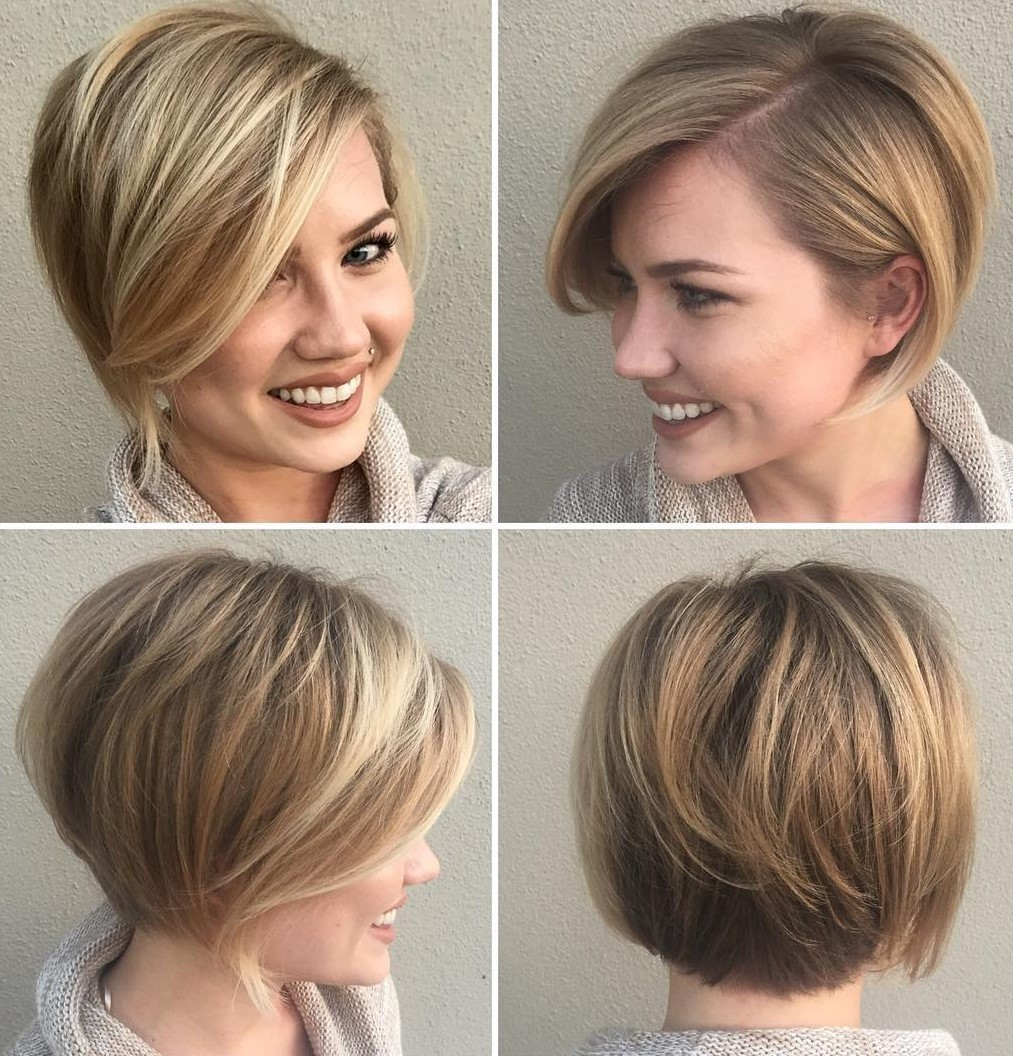 Stacked Pixie Bob with a Side Part