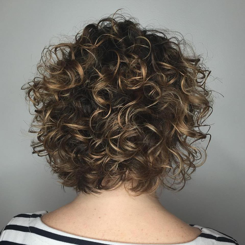 Short Rounded Curly Bob Back View