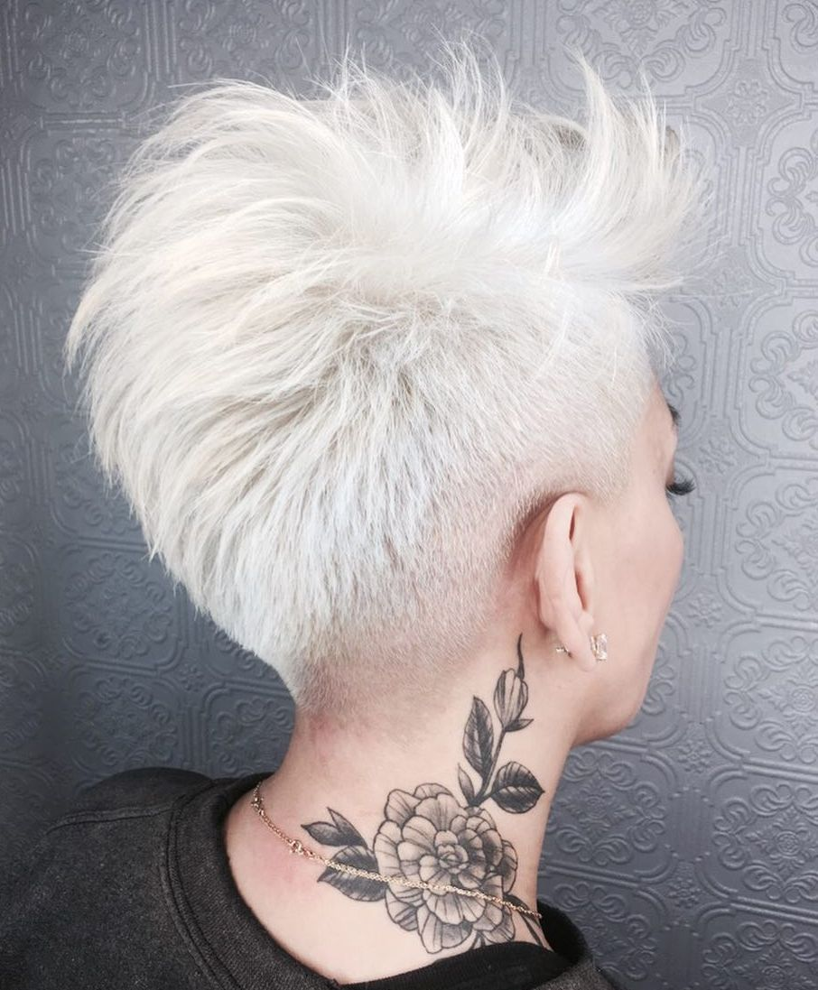 White Tapered Pixie with Feathered Layers