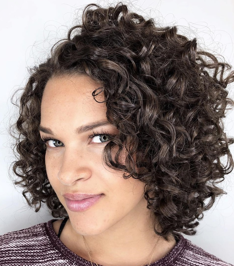 Stacked Curly Bob with a Side Part