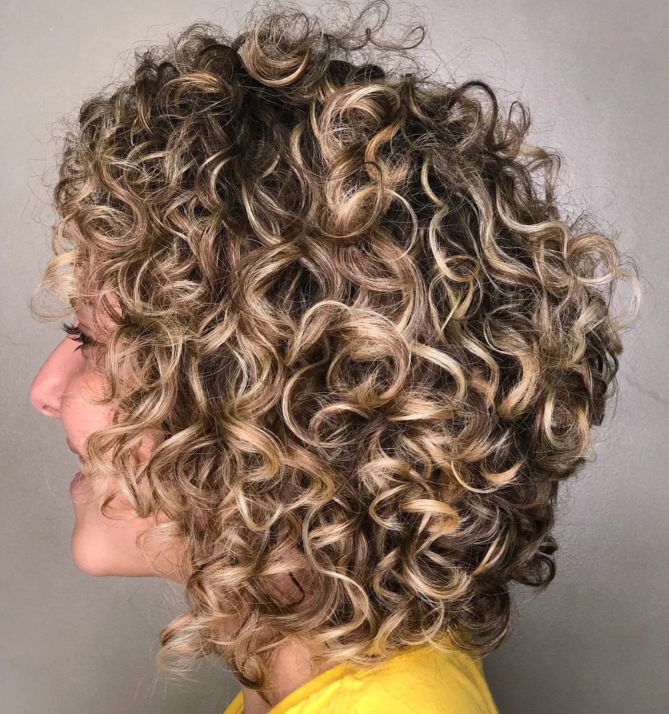 Curly Bob with Blonde Balayage