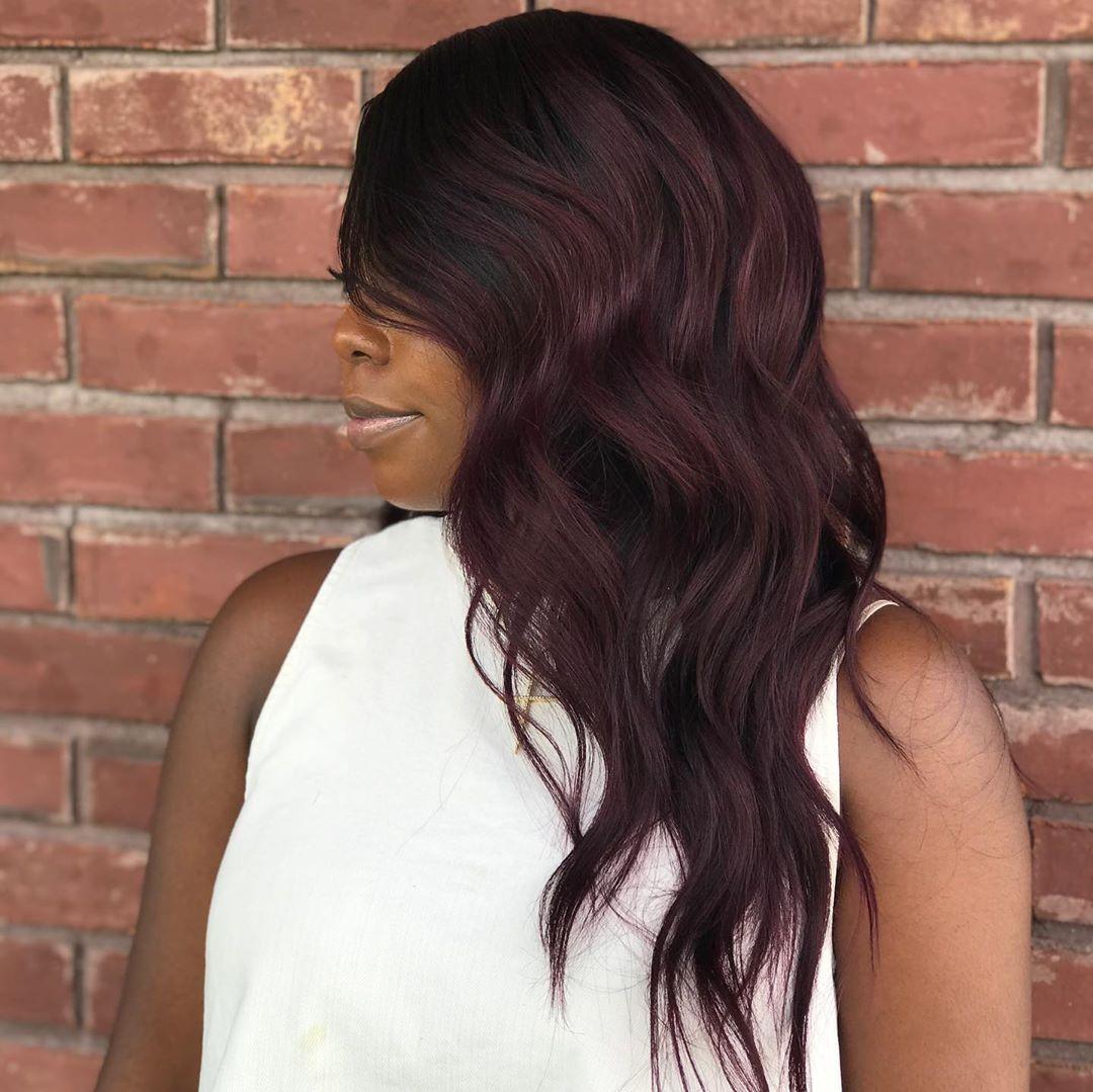 African American Dark Burgundy Hair