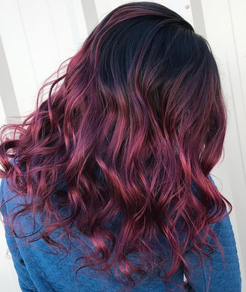 Black to Magenta Ombre Hair
