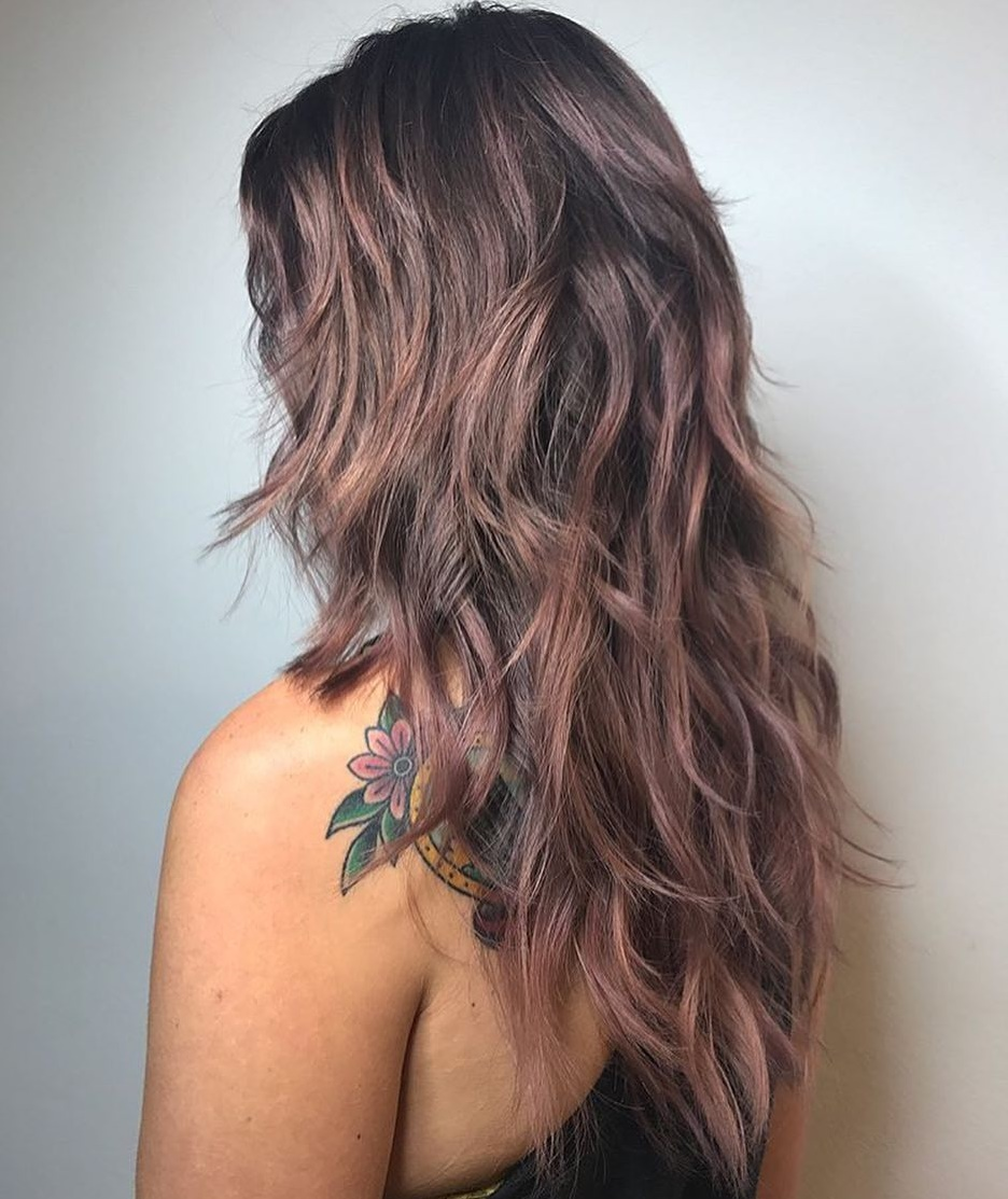 Long Shag Haircut with Purple Balayage