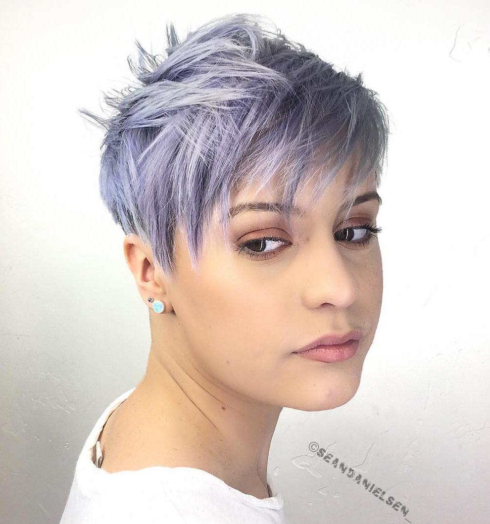 Chic Edgy Pastel Purple Pixie