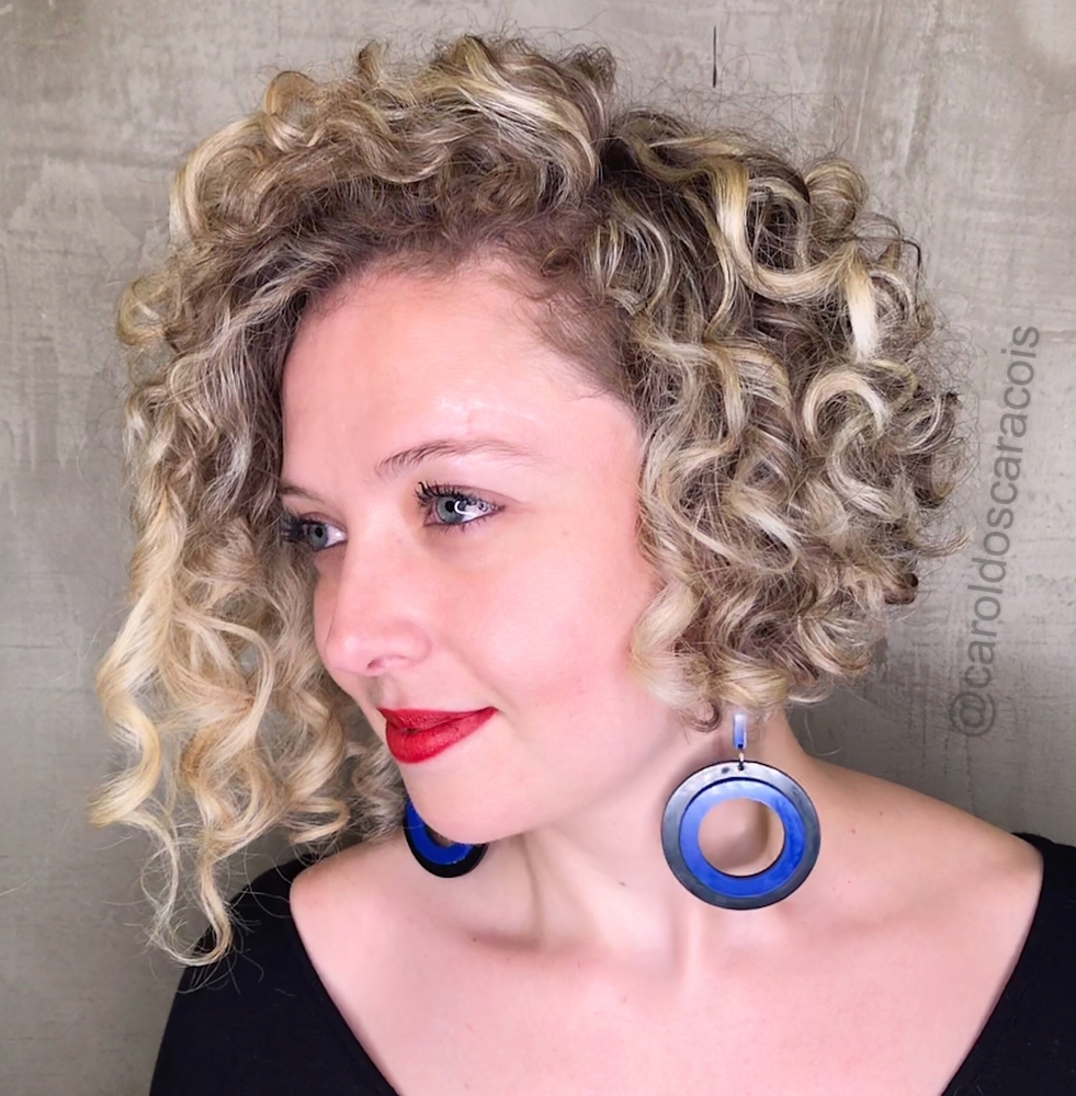 Asymmetrical Angled Bob for Curly Hair