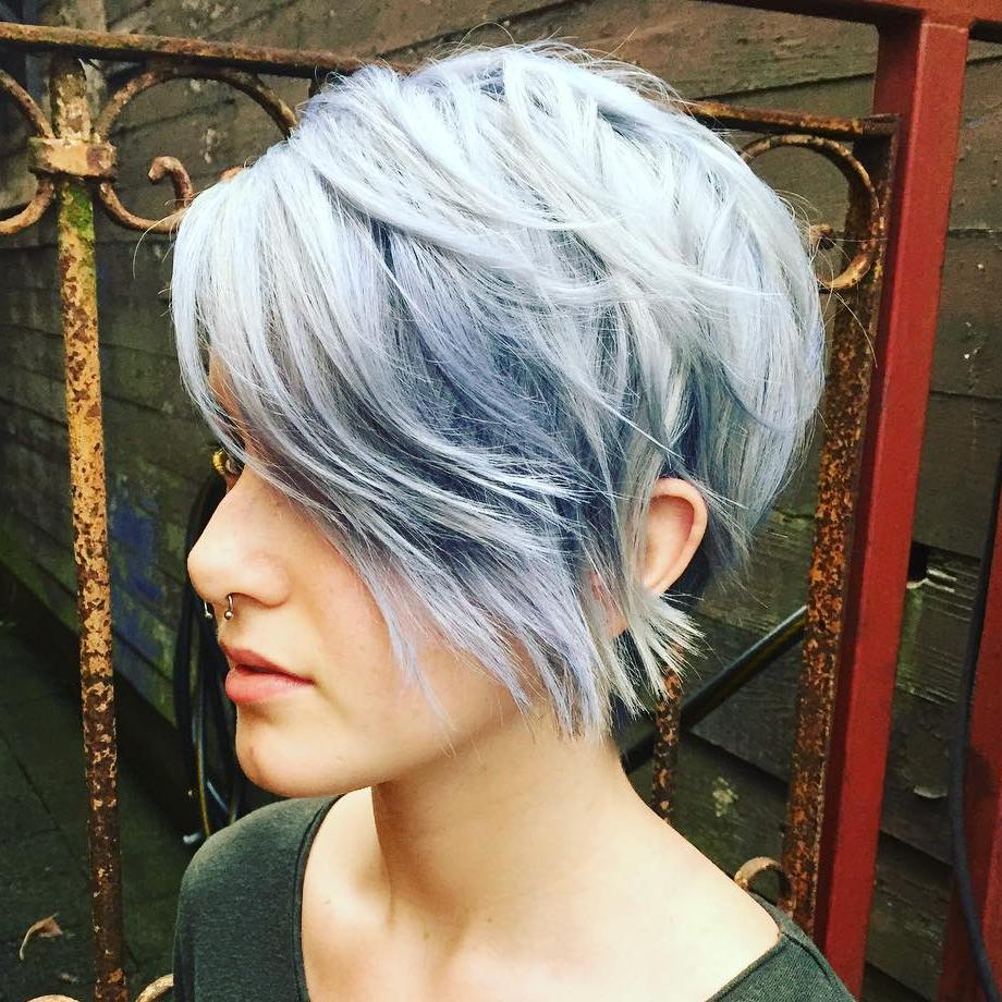 Long Choppy Pastel Blue Pixie