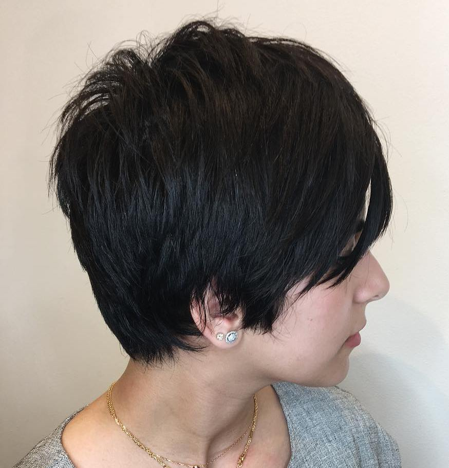 Black Pixie with Choppy Ends