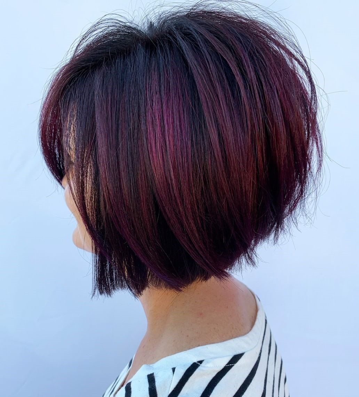 Short Black Hair with Burgundy Highlights