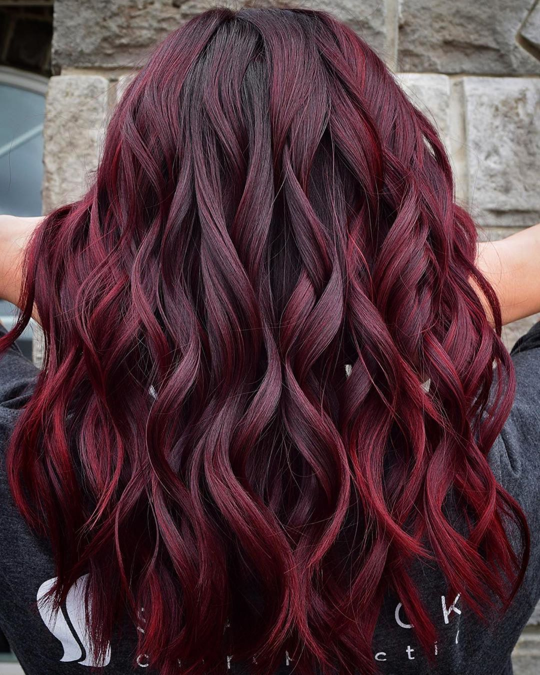 Raspberry Balayage for Black Hair