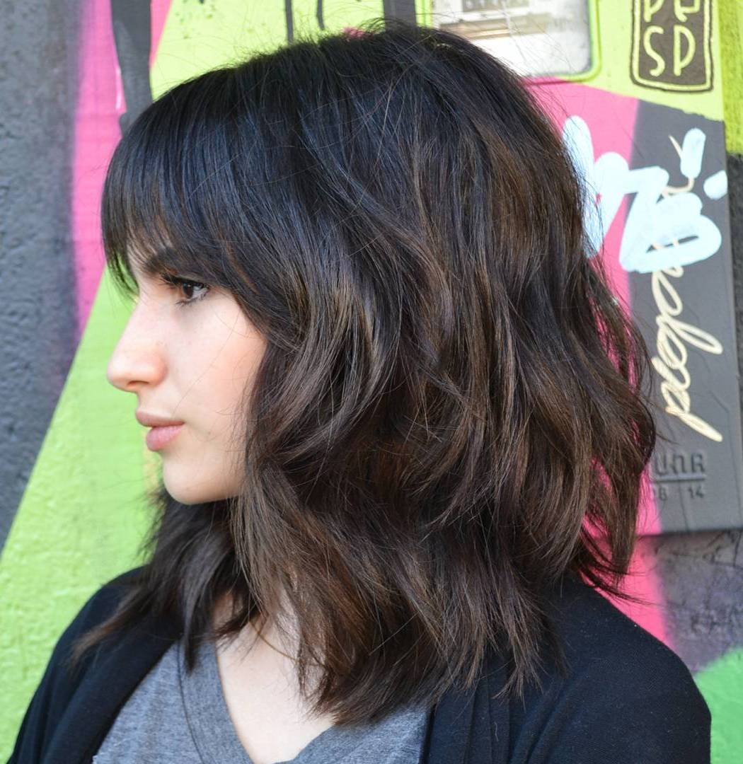Wavy Shag with Bangs for Thick Hair
