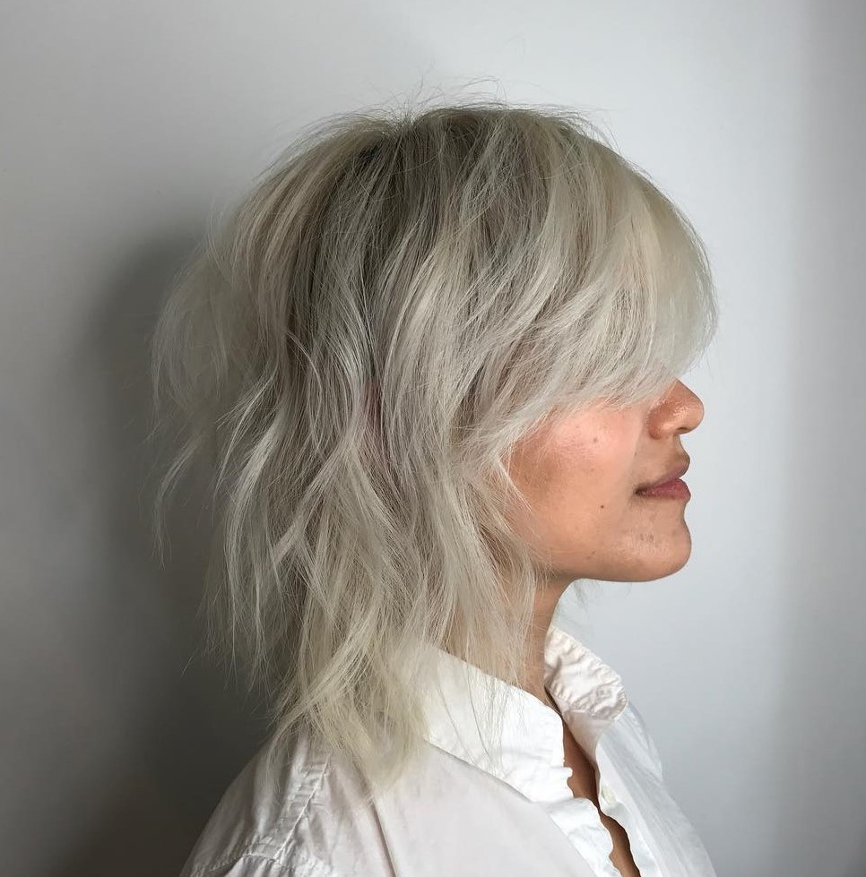 Ash Blonde Shag with Bangs