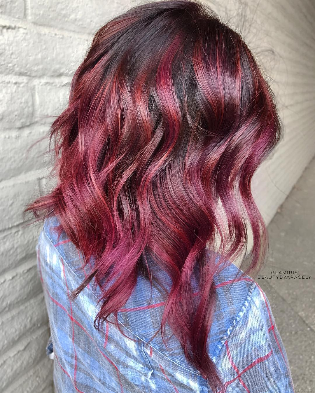 Mid-Length Hair with Bright Burgundy Balayage