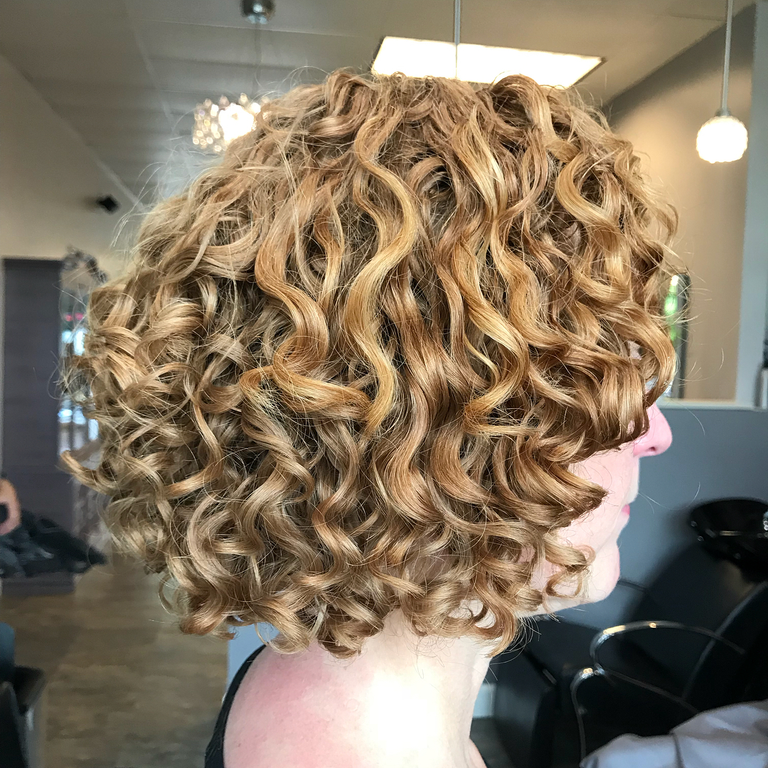 Honey Blonde Curly Bob