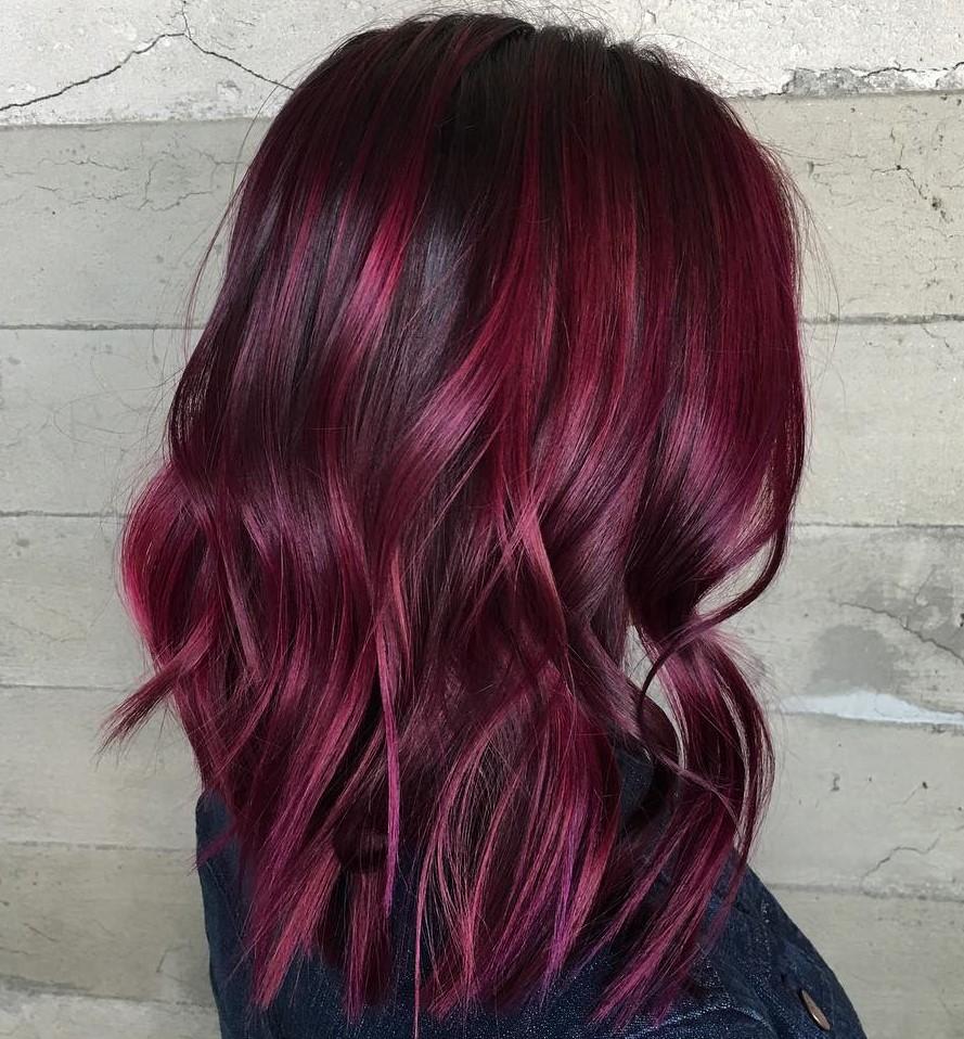 Black Hair with Deep Burgundy Highlights