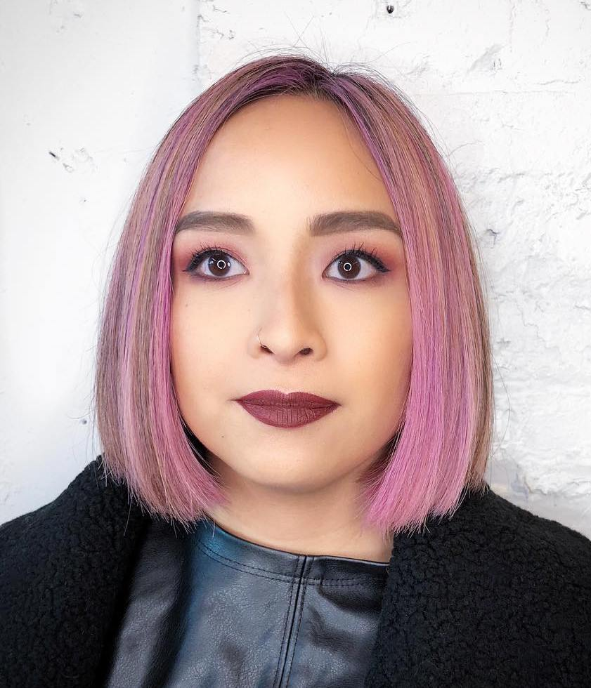 Sleek Short Mauve Bob