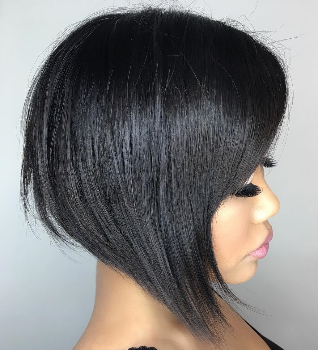 High Shine Black Angled Bob with Bangs