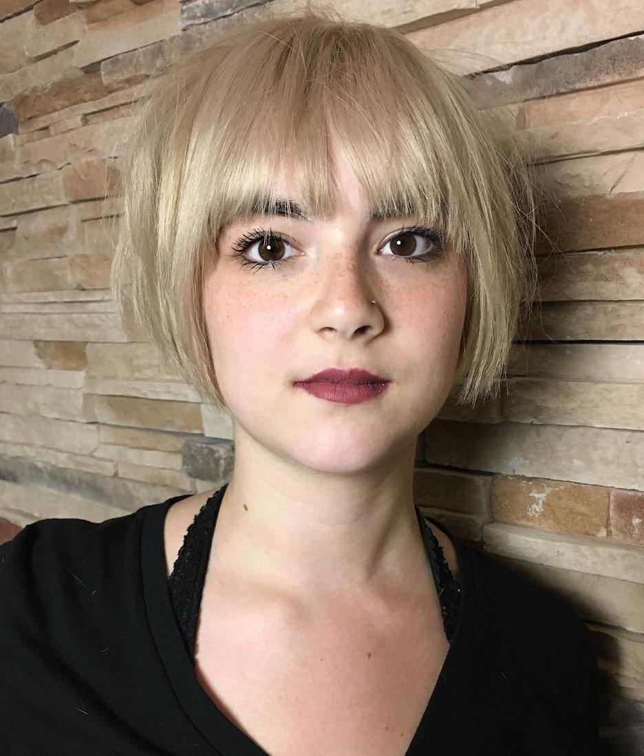 Short Choppy Blonde Bob with Bangs