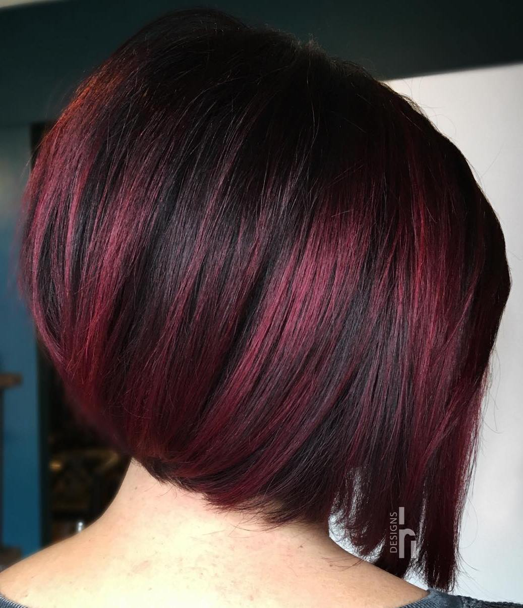 Black Bob with Burgundy Highlights