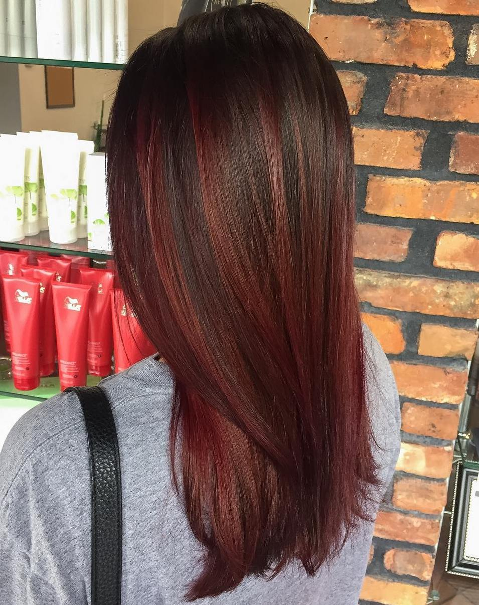 Burgundy Brown Hair Color with Caramel Highlights