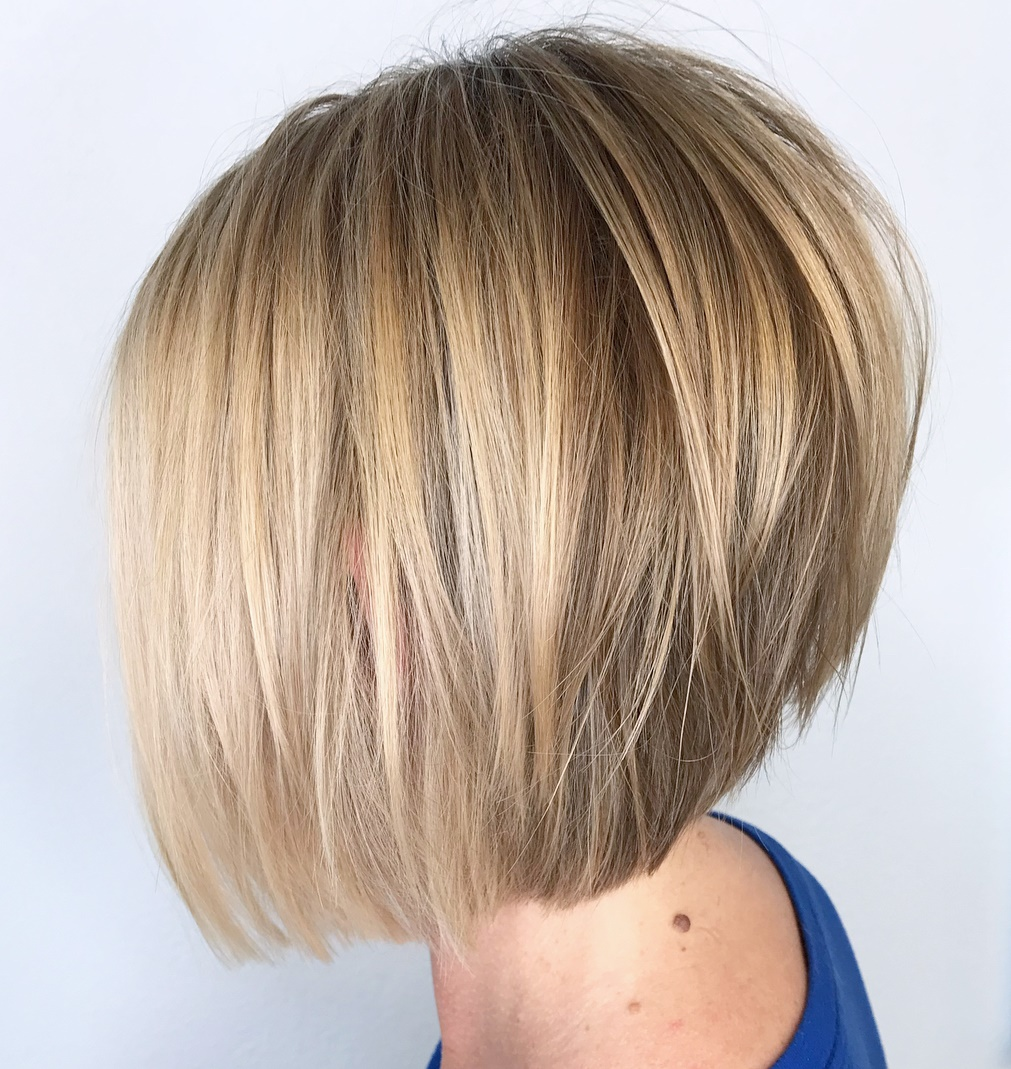 Razored Stacked Bob for Thin Hair