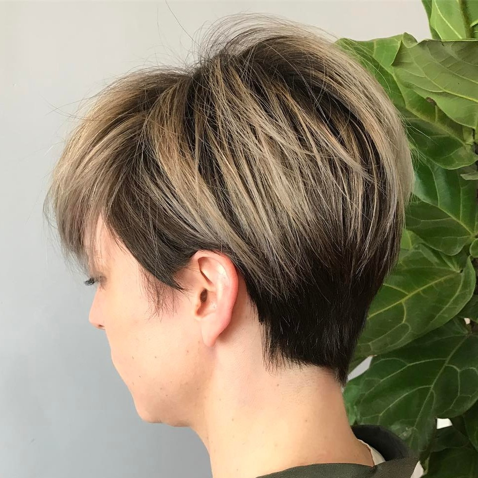 Blonde Balayage Pixie with Wispy Layers