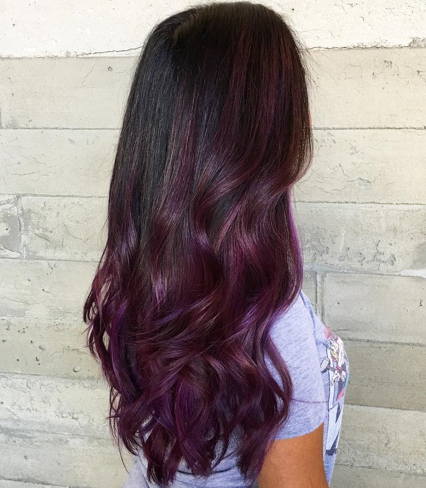 Blackberry Burgundy Balayage for Long Black Hair