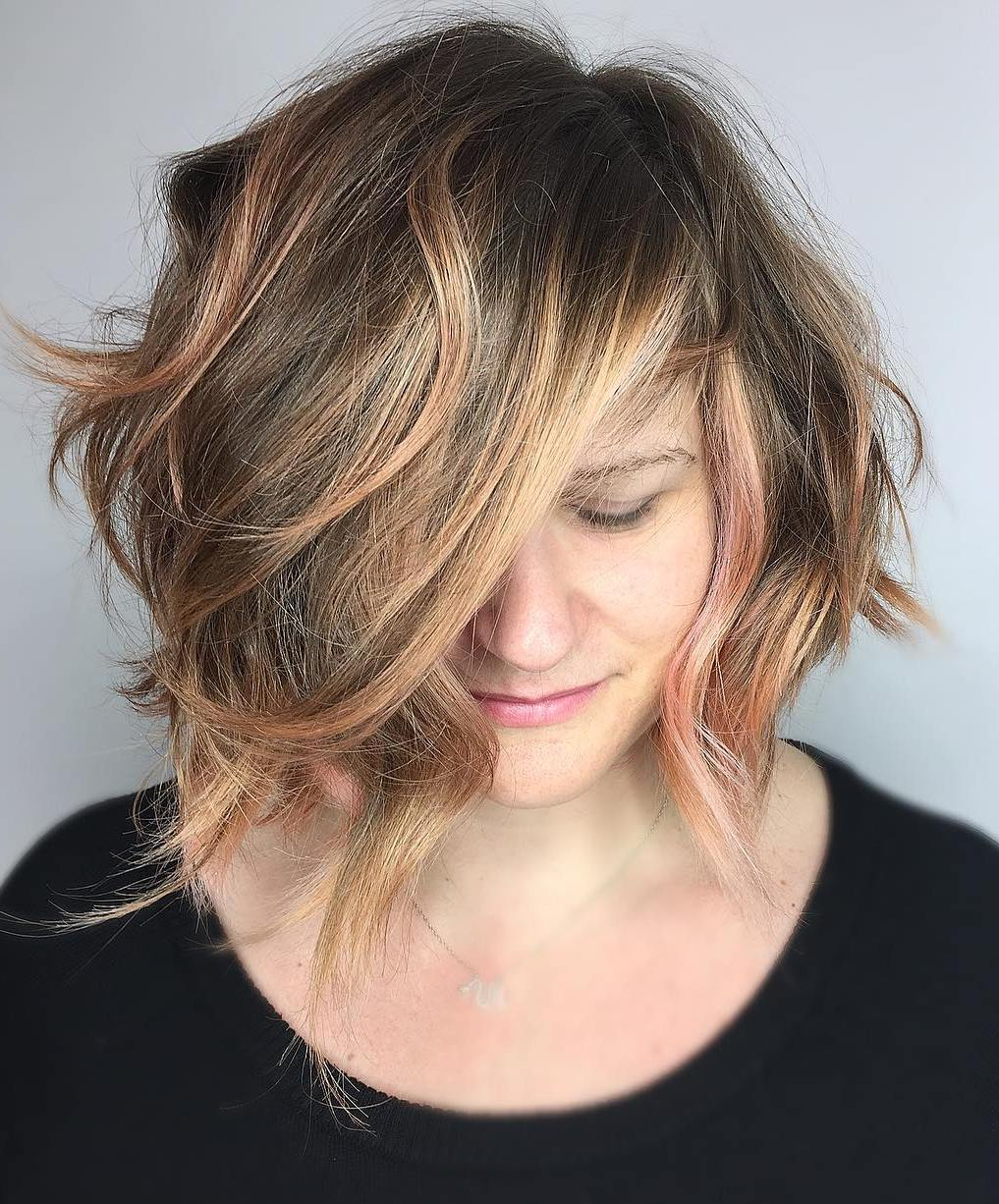 Romantic Uneven Bob with Balayage Highlights