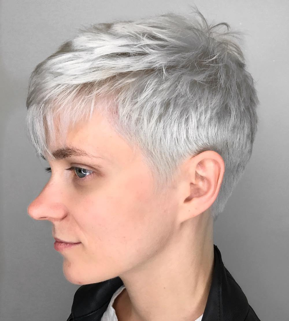 Short Gray Pixie Haircut