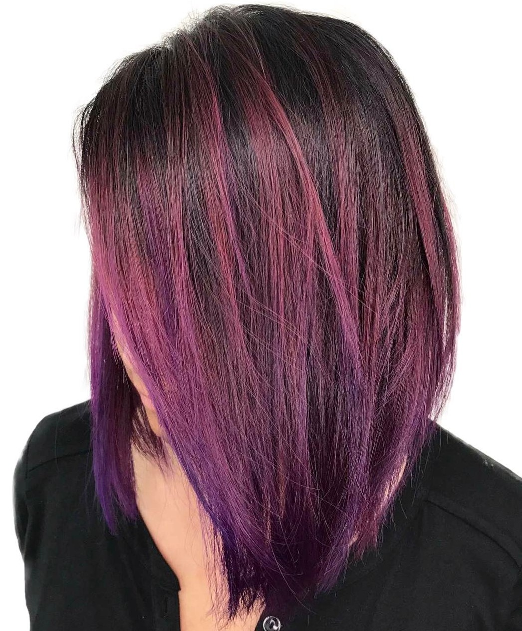 Side-Parted Long Purple Bob