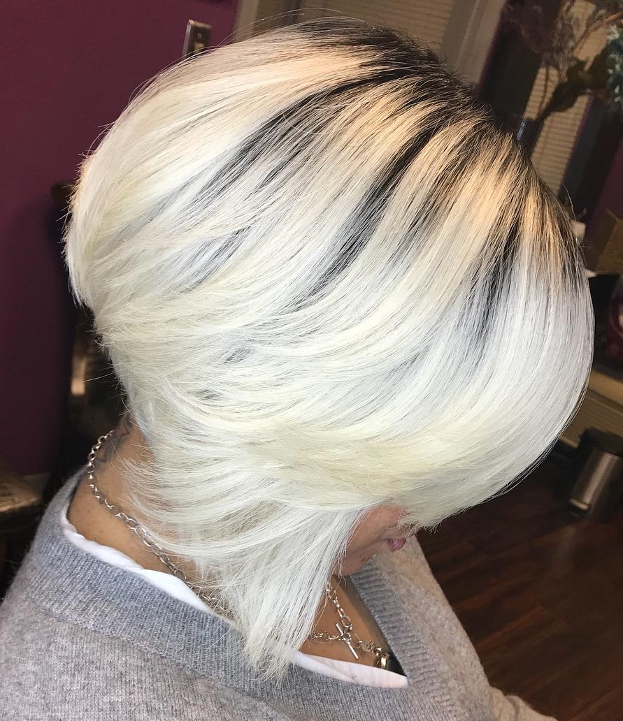 Inverted Straight Platinum Blonde Bob
