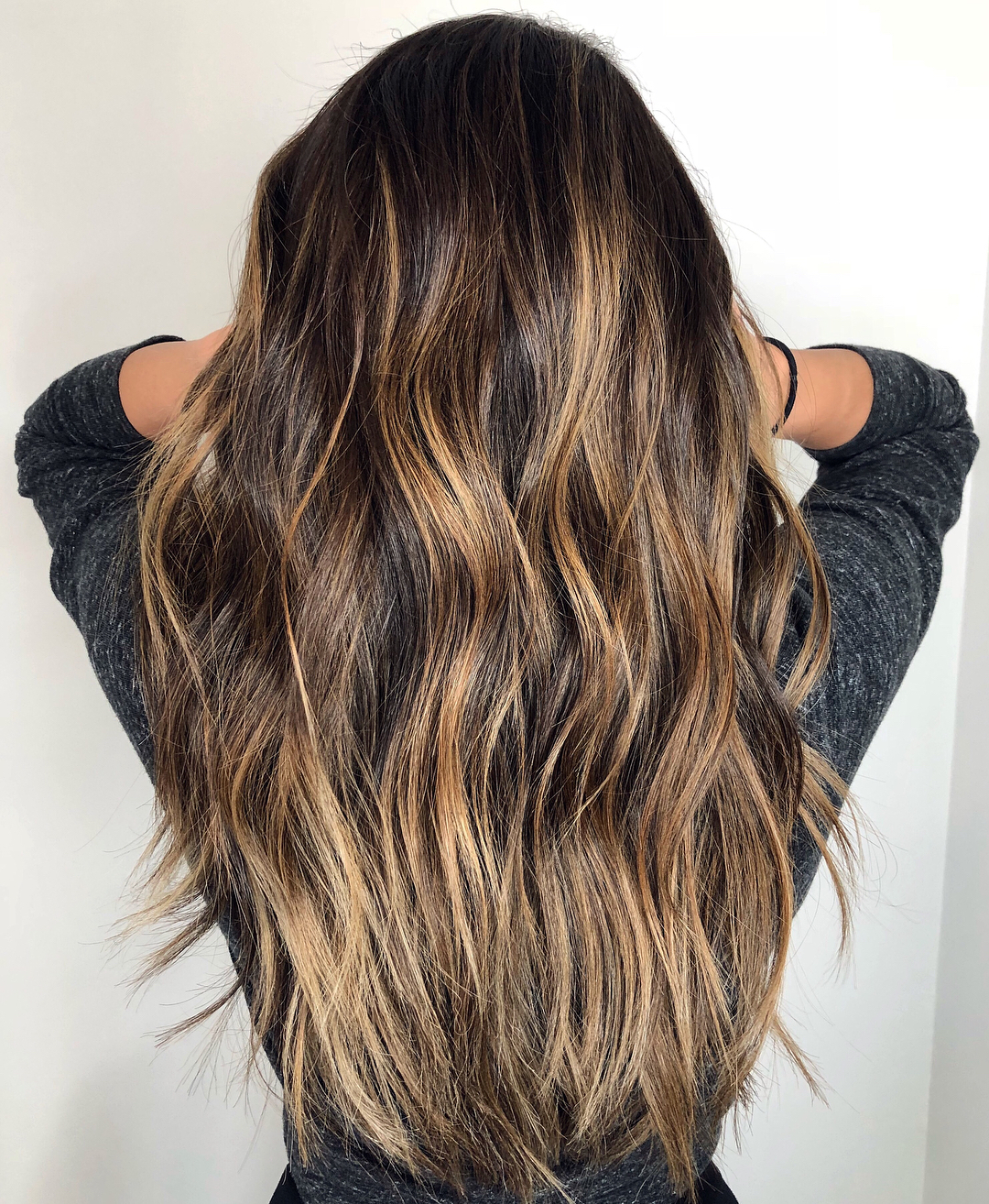 Long Hair with Honey Highlights and Light Waves