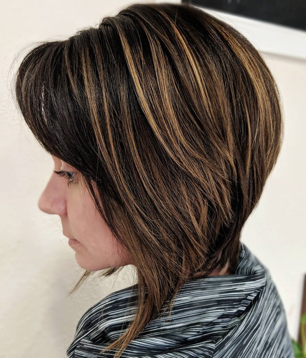 Angled Brown Bob Cut with Balayage